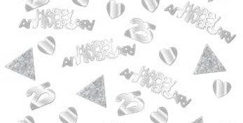 25th Silver Sparkling Wedding Anniversary Table/Invite Confetti (34g)