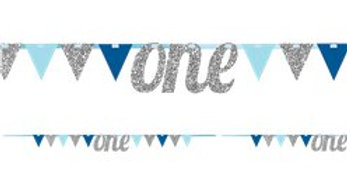 Age One Blue & Silver Glitter Bunting - 2.7m (each)