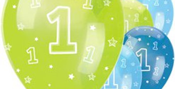 "One is Fun Boy Latex Balloons - 12"" (6pk)"