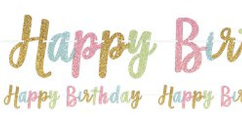 Confetti Fun 'Happy Birthday' Glitter Letter Banner - 3.65m (each)