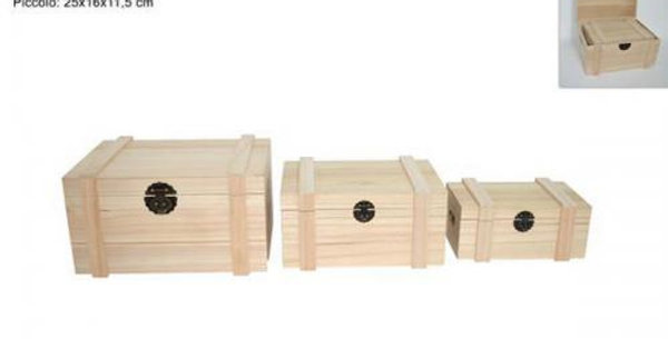 wooden crate with lid 25 x16x 12.5cm