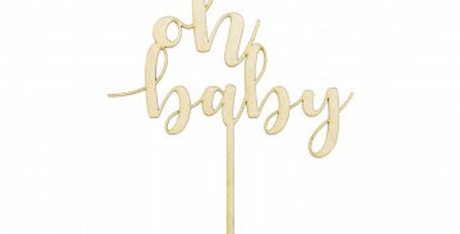 Baby Wishes Oh Baby Wooden Cake Topper
