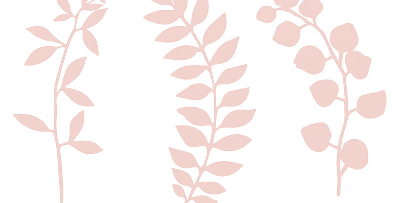 Branch with leaves decoration, powder pink, made of paper, mix of designs, sizes