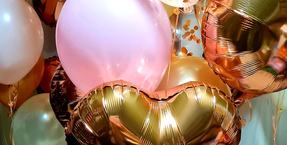 Bouquet of mixed foil , confetti and latex balloons 10 balloons including helium