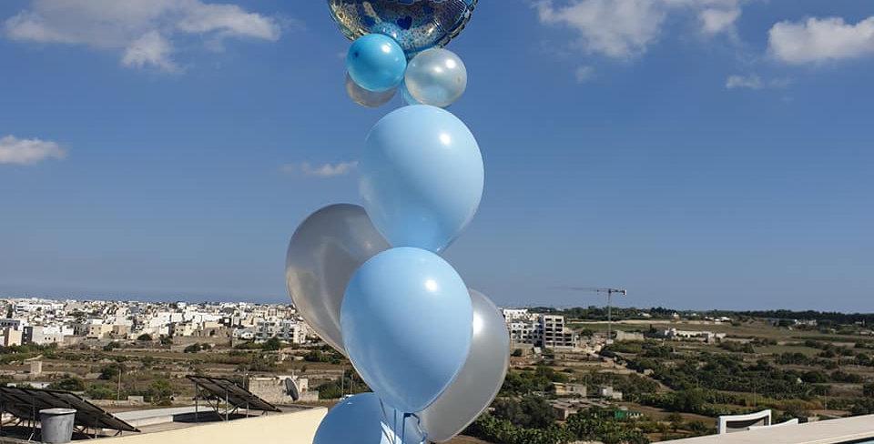5 bunch balloon 12'' latex including helium , 1 foil 18'' balloon,4 mini balloon