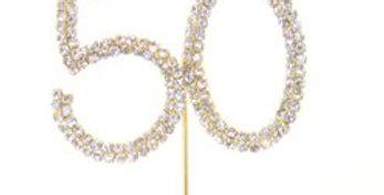 50th Birthday Anniversary Diamante Cake Pick (each)