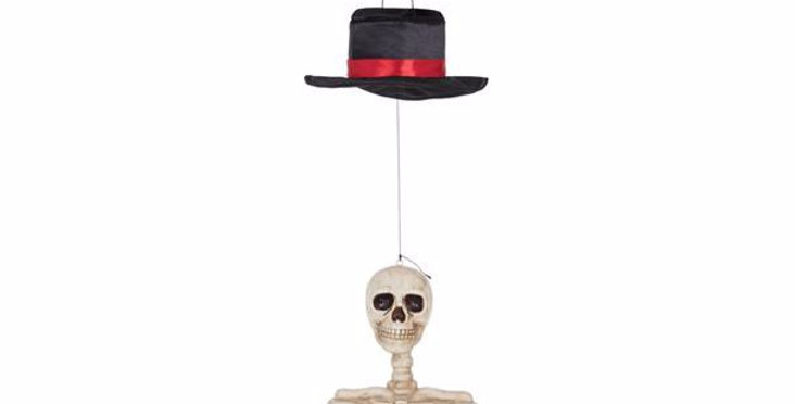 Hanging Skeleton with Movement & Sound  3x AAA batteries included