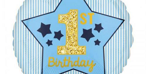 "1st birthday blue star 18"" foil balloon"