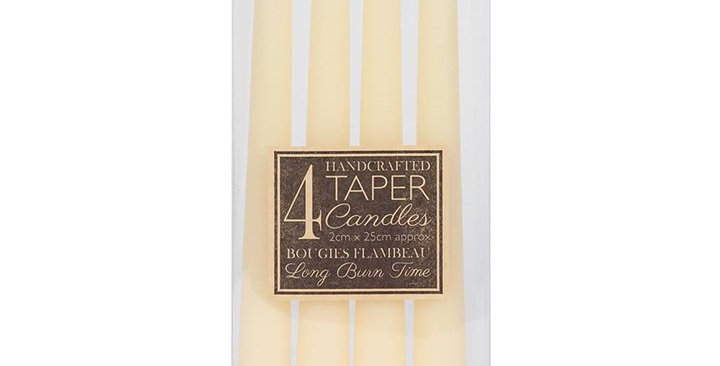 PACK OF 4 IVORY TAPER CANDLES
