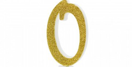 Birthday candle Number gold glittery, size approx 10cm
