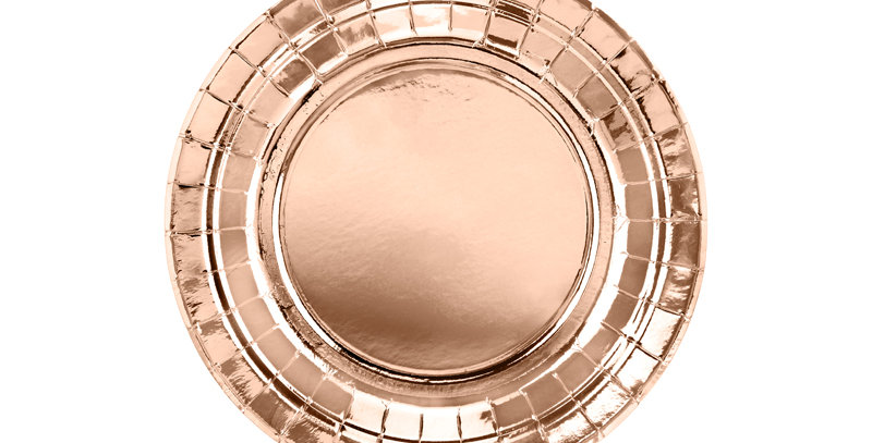 Round paper plates, rose gold, diameter approx. 18 cm    6pk