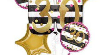 30th Pink & Gold Bouquet - Assorted Foil (each)  5 balloons