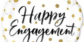 "Happy Engagement Gold Dots Balloon - 18"" Foil (each)"