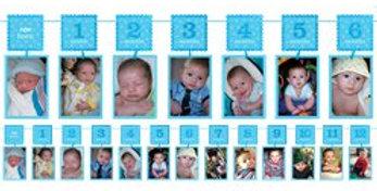 Boy's 1st Birthday Blue Glitter Garland Photo Holder - 3.7m (each)