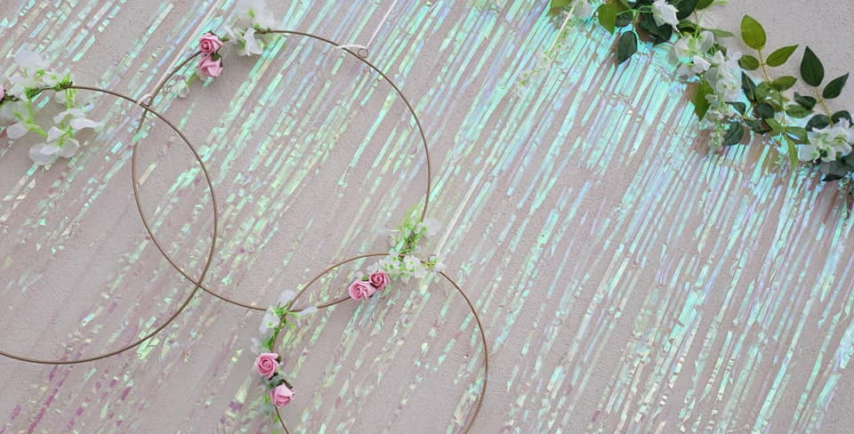 3 Hula hoop decoration including flowers, backdrop and flower garland