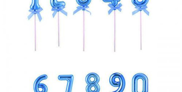 Blue  cake topper on a stick numbered with mini bow
