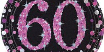 Pink/gold Celebration Age 60 Plates - 23cm Paper Party Plates (8pk)