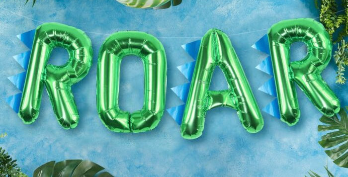 Add this great balloon bunting to your ROAR themed dinosaur party! > pack contai