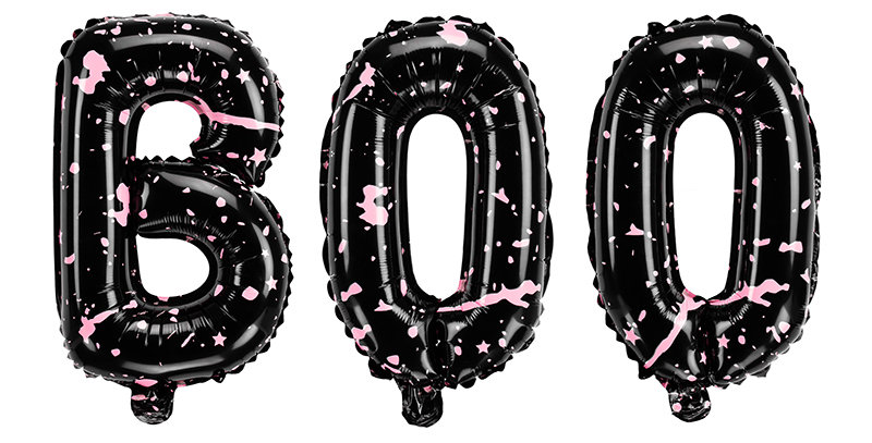 Foil balloon BOO, in black colour with pink printing, size approx. 65 x 35 cm (2