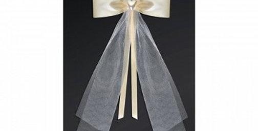 Bows with a heart, cream, 18cm  2pk