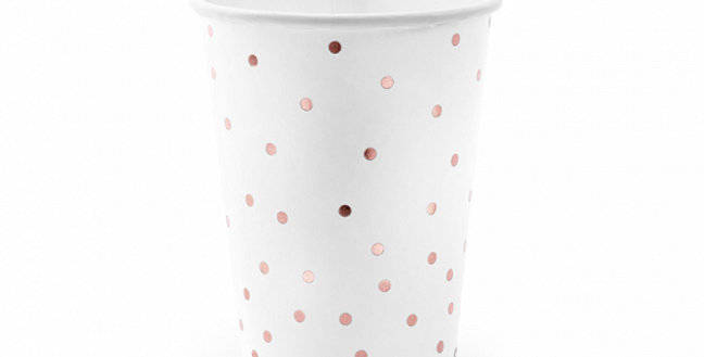 Paper cups in white colour with rose gold polka dots pattern, hold up to approx.