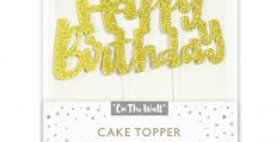 Gold Glitter Happy Birthday Cake Topper 1ct