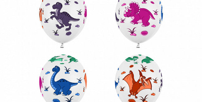 Balloons 30cm, Dinosaurs, Pastel Pure White  Strong Balloons Dinosaurs, Pastel P
