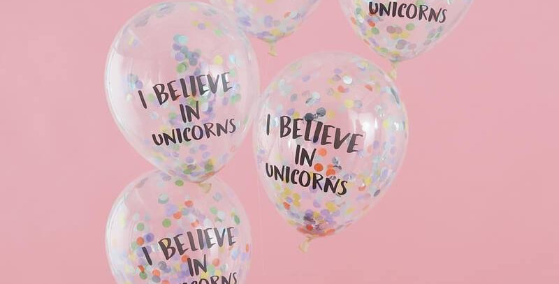 I BELIEVE IN UNICORNS CONFETTI BALLOONS - PASTEL PARTY  5pk 12'' latex balloons