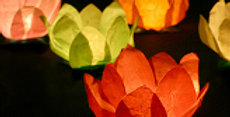 Floating lantern, mix of colours (white, red, mint, orange, green, blue), diamet