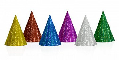 holographic party hats 6pk