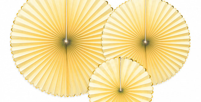 Decorative rosettes Yummy, light yellow with gold edges, diameters approx.: 40 c