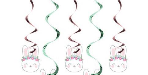Birthday Bunny Assorted Hanging Swirl Decorations (5pk)