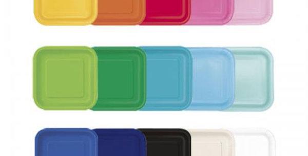 Square paper plates Unique 18cm various colours 16pz