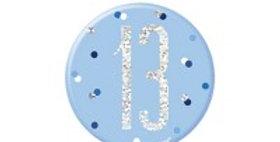 Blue Birthday Glitz Age  Badge - 7cm (each)