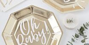Oh Baby - Gold Foiled Oh Baby Paper Plate (8pk)