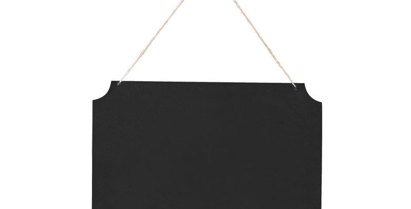 Hanging chalkboard sign, black, with a free text field, made of thick paper