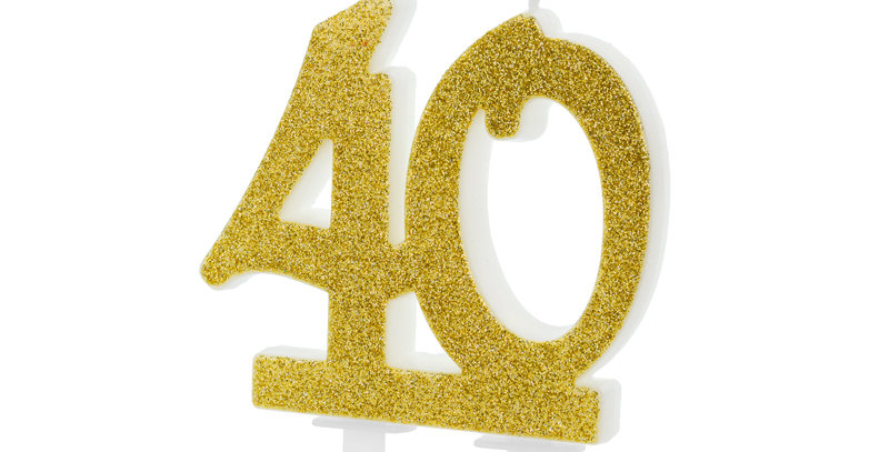 Birthday candle Number 40/50/60 in gold glittery colour, size approx. 7.5 cm.