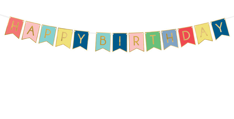 Banner Happy Birthday, mix of colours with gold inscription, do it yourself, set