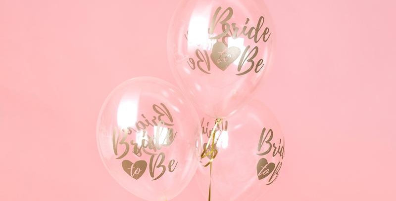 Balloons 30cm, Bride to be, Crystal Clear 6pk