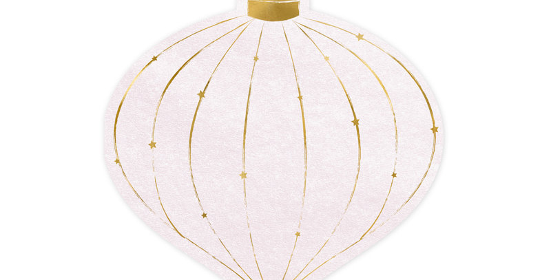 Paper napkins Christmas Bauble, pink with gold metallic print, size after unfold