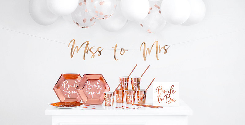 Party decorations set - Bachelorette party, rose gold
