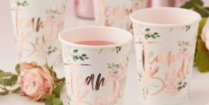 TEAM BRIDE FLORAL PAPER CUPS - FLORAL HEN PARTY Create a sophist