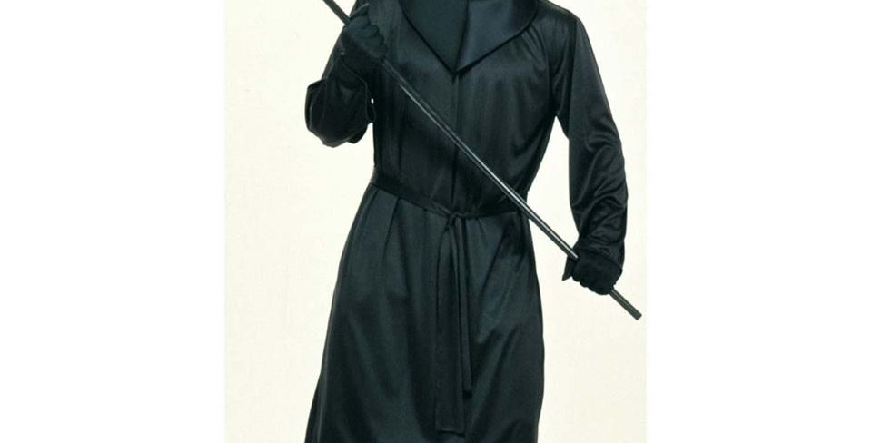 Black Mesh Face Robe STD Adult includes hooded robe and waist sash one size