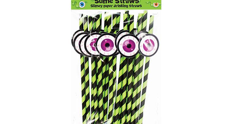Slime Novelty Paper Straws - 20 Pack