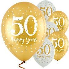 """'Happy 50 Years' Golden Anniversary Latex Balloons - 11"""" (6pk)"""