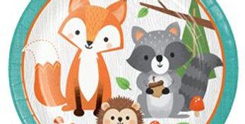 Woodland Animals Paper Lunch Plates - 23cm (8pk