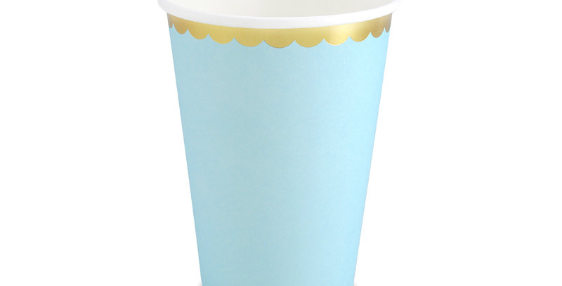 Paper Cups, light blue with gold metallic edges, for cold drinks only, hold up t