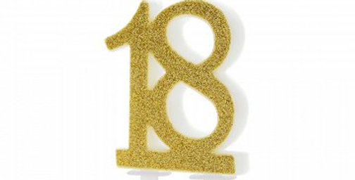 Birthday candle Number age  gold, 7.5cm