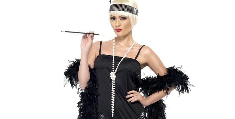 Black Flapper Dress - Adult Costume includes Dress, Belt and headpiece  si