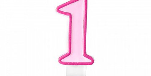 Birthday candle Number 1 pink 7cm